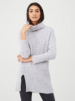 v-by-very-ribbed-roll-neck-split-front-tunic-greymarl