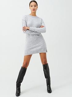 v-by-very-seam-detail-dress-grey-marl
