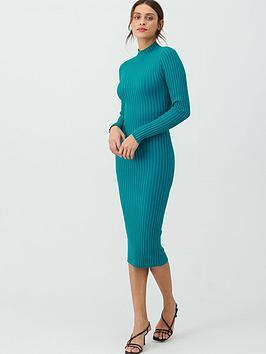 v-by-very-plaited-mixed-rib-midi-dress-teal