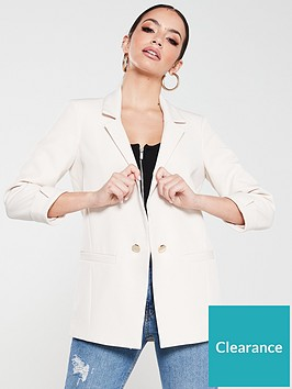 river-island-turn-up-cuff-blazer--cream