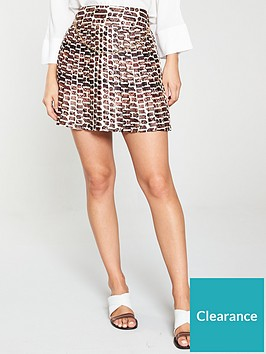 river-island-river-island-chain-print-pleated-mini-skirt-brown