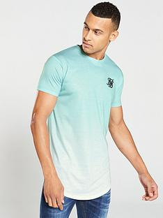 sik-silk-curved-hem-fade-t-shirt-turquoisewhite