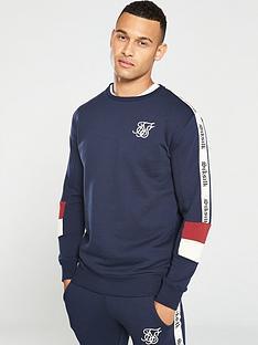 sik-silk-retro-panel-crew-neck-sweatshirt-navy