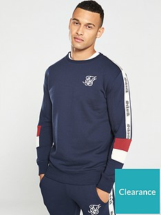 sik-silk-retro-panel-crew-neck-sweatshirt-navy