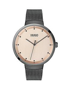 hugo-hugo-go-carnation-gold-and-grey-detail-dial-grey-ip-stainless-steel-mesh-strap-ladies-watch