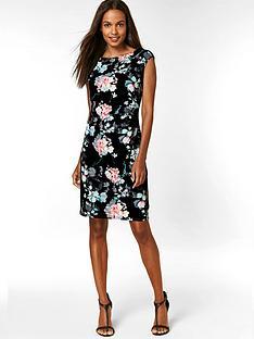 wallis-petite-oriental-floral-ruched-side-dress-black