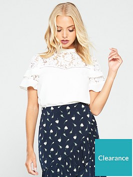 oasis-lace-trim-flute-sleeve-top-white