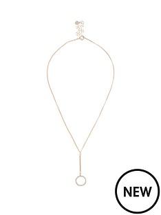 river-island-river-island-diamante-circle-drop-necklace-rose-gold