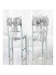 waterside-pack-of-6-metallic-organza-chair-bows-ndash-silver
