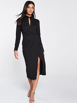 v-by-very-wrap-choker-scuba-crepe-midi-dress-black