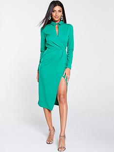 v-by-very-wrap-choker-scuba-crepe-midi-dress-green