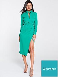 v-by-very-wrap-choker-scuba-crepe-midi-dress-green