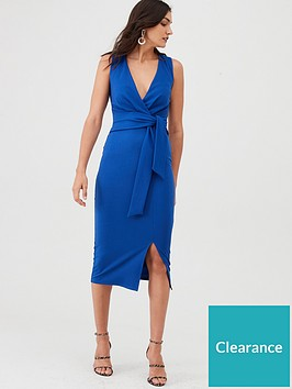 v-by-very-knot-front-stretch-bodycon-dress-blue