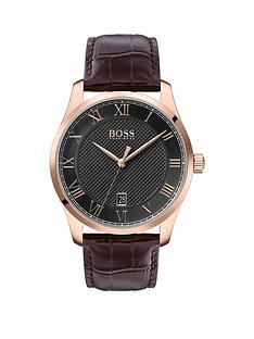 boss-boss-master-grey-textured-and-rose-gold-detail-date-dial-brown-leather-strap-mens-watch
