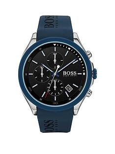 boss-boss-velocity-black-textured-chronograph-dial-blue-silicone-strap-mens-watch