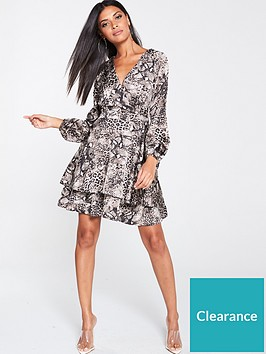 ax-paris-snake-print-tiered-dress-grey