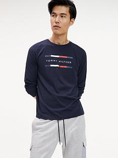 tommy-hilfiger-long-sleeved-logo-t-shirt-sky-captain-blue