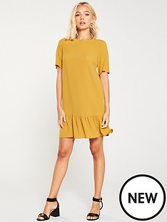 ax-paris-frill-hem-shift-dress-mustard