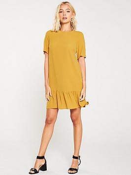 ax-paris-frill-hem-shift-dress-mustard
