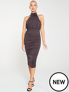 ax-paris-high-neck-ruched-dress--nbspgrey