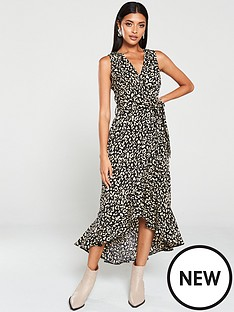 ax-paris-animal-print-wrap-dress-black