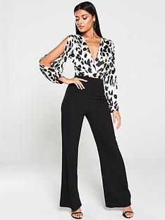 ax-paris-leopard-split-sleeve-jumpsuit-black