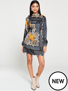 ax-paris-paisley-print-ruffled-shift-dress-multi