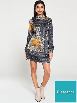 ax-paris-paisley-print-ruffled-shift-dress-multi