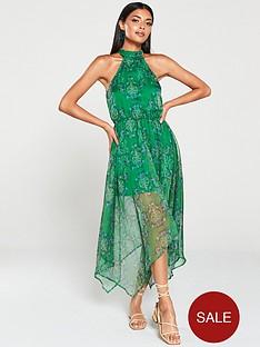 ax-paris-printed-halterneck-midi-dress-green