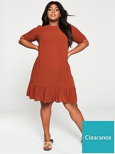 ax-paris-curve-drop-hem-plain-dress-rust