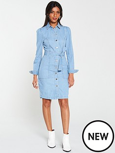 v-by-very-tie-waist-denim-dress-light-wash