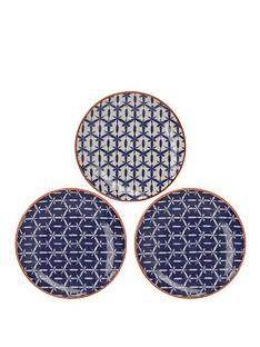 creative-tops-mikasa-drift-hand-decorated-patterned-ceramic-side-plates-ndash-set-of-3