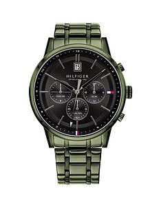 tommy-hilfiger-tommy-hilfiger-kyle-black-sunray-chronograph-dial-green-ip-stainless-steel-bracelet-mens-watch