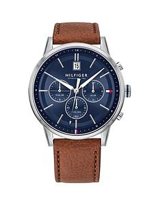 tommy-hilfiger-tommy-hilfiger-kyle-blue-suray-and-silver-detail-chronograph-dial-brown-leather-strap-mens-watch