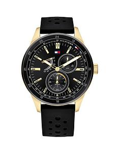 tommy-hilfiger-tommy-hilfiger-austin-black-and-gold-detail-multi-dial-black-silicone-strap-mens-watch