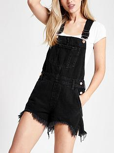 river-island-denim-short-dungarees-black