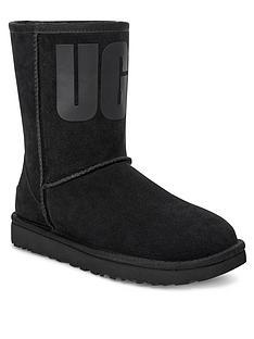 ugg-classic-short-rubber-logo-calf-boots-black