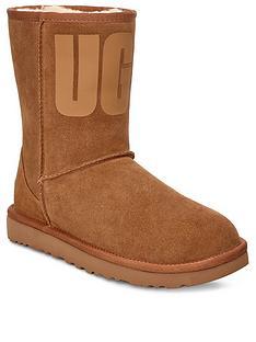 ugg-classic-short-rubber-logo-calf-boots-chestnut