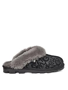 ugg-coquette-sparkle-graffiti-slippers-black