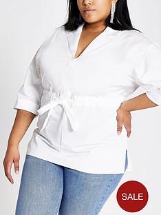 1600378734: RI Plus Drawstring Waist Shirt - White