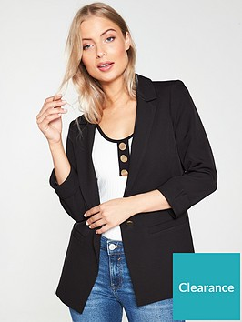 river-island-turn-up-sleeve-blazer-black