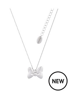 disney-disney-minnie-mouse-14k-white-gold-plated-bow-necklace