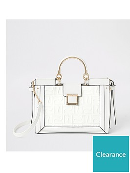 river-island-river-island-embossed-metal-handle-tote-bag-white