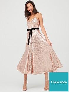 u-collection-forever-unique-sequin-midi-skater-dress-rose-gold