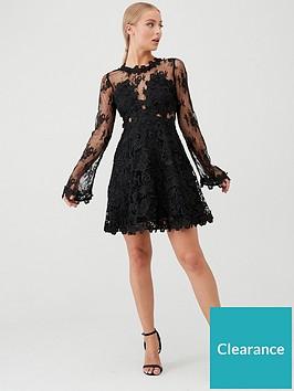 u-collection-forever-unique-long-sleeve-lace-skater-dress-black