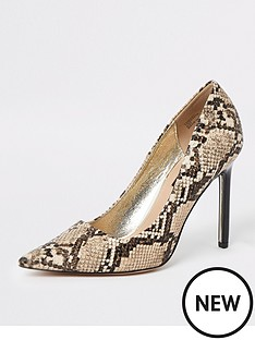 84000c9f285cd8 River Island River Island Animal Print Skinny Heel Court Shoe - Beige