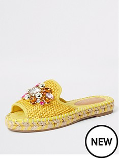 02a2bf7edeef80 River Island River Island Embellished Backless Espadrille - Yellow