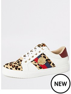 1560370b6f91 River Island River Island Animal Printed Lace Up Trainers - White