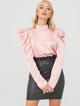 little-mistress-high-neck-detailed-sleeve-top-blush