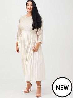 little-mistress-curve-sequin-pleated-midaxi-dress-cream